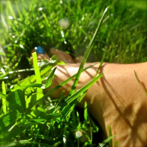 Barføtt i graset